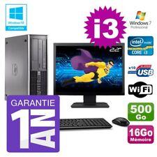 """PC HP 8200 SFF Intel I3-2120 16Go Disque 500Go Graveur Wifi W7 Ecran 22"""""""