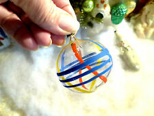 Vtg Unsilvered Hand Painted Geometric Glass Feather Tree Xmas Ornament 2.25""