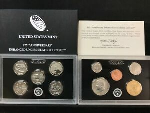 2017 S 225TH ANNIVERSARY ENHANCED UNCIRCULATED 10 COIN SET W/ LINCOLN CENT