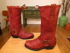 Vtg FRYE Women's Burnt Red Leather Harness, Biker Boots 6M  XLNT! #77300