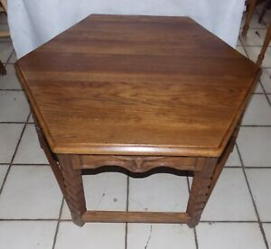 Mid Century Ranch Oak Hexagon Longhorn Carved Coffee Table  (CT232)