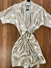 Asos Kimono Dress Fern Leaf Print New Without Tags 0 XS Taupe Ivory Faux Wrap