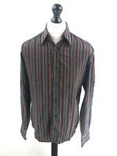 HUGO BOSS Mens Shirt M Medium Grey Black Red Stripes Acetate & Cotton Slim Fit