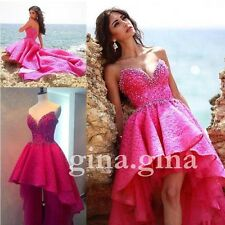 Hot Pink Lace Beaded Hi-Lo Prom Dress New Evening Gowns Formal Party Dresses