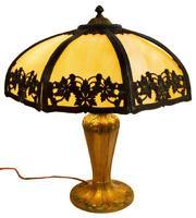 GORGEOUS AMERICAN SLAG GLASS & GILT METAL TABLE LAMP, early 1900s!!