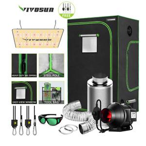 "VIVOSUN 48x48x80"" Reflective Mylar Grow Tent w/ VS1000 LED 4/6/8 Ventilation fan"