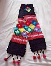 LONG  ALPACA & WOOL CROCHETED SCARF ~ BLACK & MULTI COLOUR