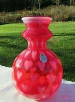 "Fenton Deep Cranberry/Ruby Red Opalescent ""HEART OPTIC"" LE #651 Vase 6.5""H NIB"