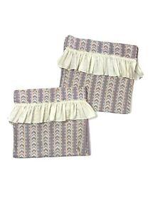 2 Custom Made Vintage 1970s Curtains Drapes Southwestern Ruffle Retro Pink Green
