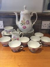 Pretty 'Triptis' Probably Bohemiam Teaset with Floral Pattern
