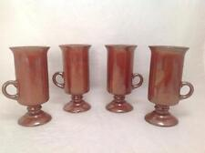 Irish Mug Set 4 Stoneware Coffee Pedestal Brown