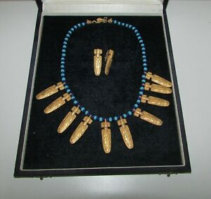 VINTAGE 24 K GOLD PLATED LINARENA COLOMBIA JEWELRY ETHNIC AZTEC NECKLACE EARRING