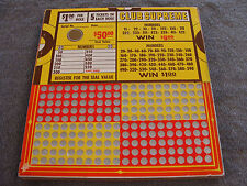 Vintage Punch Board CLUB SUPREME $1.00 Per Hole Illegal Gambling  Serial #1281