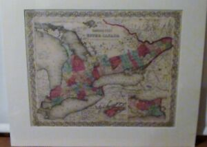 Antique Map Canada West or Upper Canada 1855 Johnson & Browning