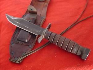 "Camillus USA 1-1970 9-5/8"" Air Force Survival fixed blade knife & sheath"