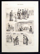 Giorno di capodanno in Giappone 1878 Incisione VITTORIANA