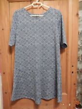 Ladies 'NEXT' Blue Patterned Short Sleeve Dress - Size 12