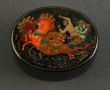 """1988 Russian Oval Lacquer Box from Palekh """"TROIKA"""" - Vintage Signed Boxed USSR"""