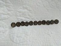 "Antique Metal Buttons Lot of 11, Silver tone Flower Brass 1/2"" buttons"