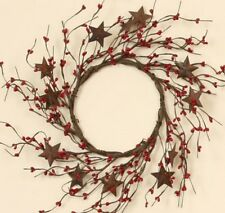 "WREATH RED SEED BERRIES AND RUSTY METAL STARS 12"" OUTSIDE D, 6"" CENTER D FLORAL"