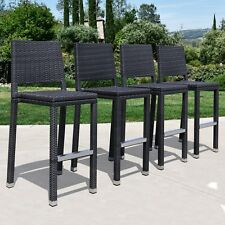 Supernova Outdoor Patio Wicker Bar Stool Set of 4 (Brown, All-Wicker)