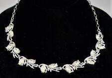 Vintage Signed EMMONS Crystal Navette Rhinestone Silver Tone Choker Necklace