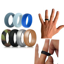 7 Pack Men's Silicone Wedding Band Ring Flex Fit Gym Sport Sizes 9 10 11 12 13