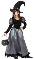 Déguisement Fille SORCIERE Noir Argent 5/6 Ans Costume Enfant Halloween NEUF