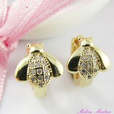 18k Gold GF Micro Pave Cubic Zirconia Ladybug Huggie Hoop Earrings