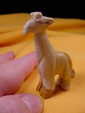 (Y-Gir-St-551) tan Giraffe giraffes stone carving Figurine gemstone giraffes