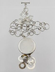 Sterling Silver Circles Link Necklace Dangling Circle Pendant Toggle Clasp 925