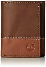 Timberland Men's Premium Genuine Leather Trifolder Wallet Brown-Tan