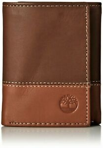 Timberland Men's Premium Genuine Leather Trifolder Wallet Brown-Tan