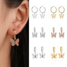 Women Silver or Gold Cubic Butterfly Dangle Drop Earrings Hoop Huggie E50