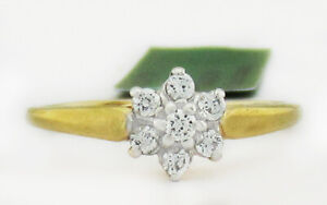 WHITE SAPPHIRES FLOWER RING 10K GOLD ** New With Tag **