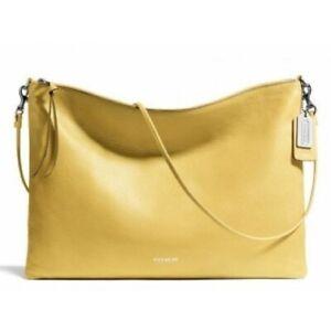 NWT Coach Bleecker Daily Lemon Yellow Leather Shoulder Cross Body Bag
