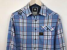 Hombre G-Star Raw Denim Informal Camisa Azul Rodger Algodón de Cuadros TALLA L