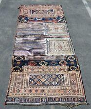Antique 1900s Central Asian Tribal Handmade Oriental Rug Runner 100% Wool Beige