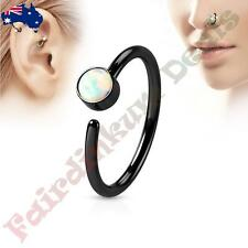 316L Surgical Steel Black Ion Plated Nose Hoop Ring with White Set Opal