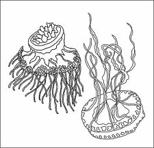"""Rug Hooking Pattern """" TWO JELLY FISH""""  on natural linen"""