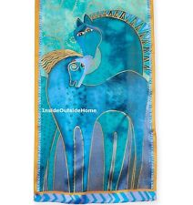 Laurel Burch Teal Mares Horses Neck SCARF Wrap Silk New 2017