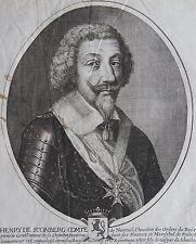 HENRY DE SCONBERG COMTE DE NANTEUIL......Portrait. Gravure originale de 1654