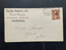 1885 PHILADELPHIA DUPLEX ! PAXSON/COMFORT FUNERAL SUPPLIES AD ! YORK PA STRACK !