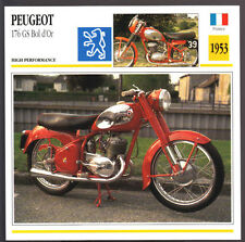 1953 Peugeot 176 GS Bol d'Or (170cc) Motorcycle Photo Spec Sheet Info Stat Card
