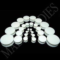 "V018 Acrylic Double Flare White Solid Saddle Ear Plugs 10G to 1-1/4"" 2.5 to 32mm"