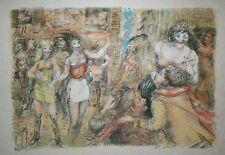 Lucien Philippe MORETTI-Lithographie signée-Sac de billes : Les rues de toulon