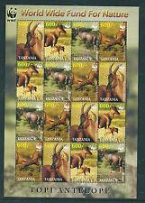 Tanzania 2006 World Wildlife Fund Topi Antelope sheetlet of 16 unmounted mint