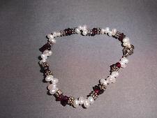 & Amethyst Beaded Stone Bracelet Vtg Fresh Water Pearl, Silver