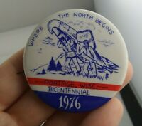 Vintage Bicentennial 1976 Portage Wisconsin Celebration pin button pinback *FF