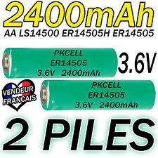 2 PILES ACCUS LITHIUM 3.6V AA ER14505 LS14500 ER14505H Li-socl2 2400Mah BATTERY